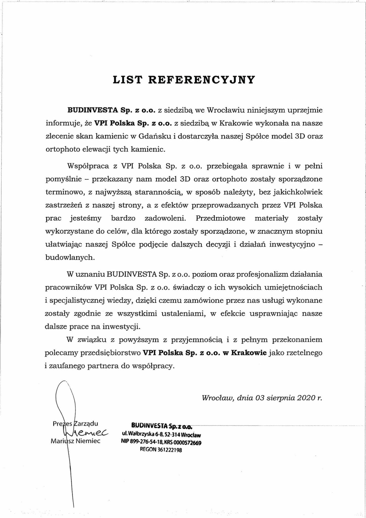 List referencyjny VPI Polska Sp. z o.o.-1 Budinvesta